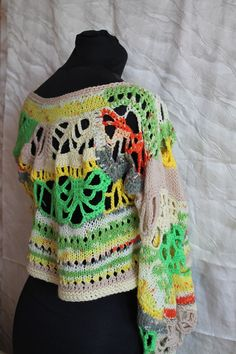 Multicolor Asymmetric Chunky Freeform Crochet Sweater Top