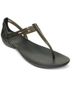 Crocs Women's Isabella T-Strap Flat Sandals   macys.com