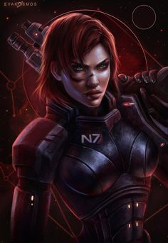 Mass Effect,Commander Shepard Mass Effect Tattoo, Mass Effect 1, Mass Effect Universe, Mass Effect Characters, Sci Fi Characters, Redhead Characters, Character Inspiration, Character Art, Character Design