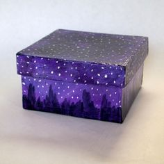 Starry Night Sky Jewelry Gift Box, Hand Painted Box, Starry Night Box, Night Sky Box