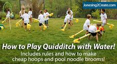 I love this water version of Quidditch with pool noodle brooms. Great for a Harry Potter party where you don't want the kids whacking each other with brooms!