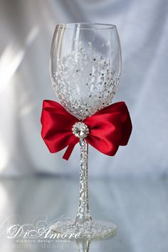 red wedding wine glass for bride/  Wedding toasting от DiAmoreDS