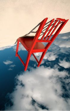 Red... Chair... Sky... Sand... blues for a ghost by bryan-cuttance. ☀