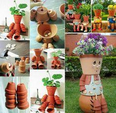 #diy #鉢植え #植木鉢 #art #design #claypotplanter #園芸 #ガーデニング (Via: DIY Clay Pot Planter People Tutorials and Inspirations ) なんというロボット感!...ちょっと楽しいかも(^^) ガーデニングのお供にヤシマットをどうぞ!