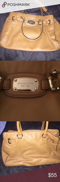 Michael Kors bag Great condition. Chestnut color with gold. Tiny ink stain on back as shown, very minor wear on bottom edges. 3 big compartments. Michael Kors Bags Shoulder Bags