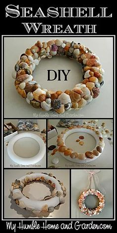 Unique And Beautiful DIY Seashell Wreath. Click through for step by step directions for making your own Seashell Wreath. Seashell Wreath, Seashell Art, Seashell Crafts, Coastal Wreath, Seashell Projects, Sea Crafts, Baby Crafts, Preschool Crafts, Deco Table