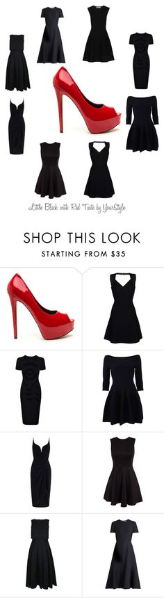 """Little Black with Red Taste by YourStyle"" by hana-krymlakova on Polyvore featuring Hervé Léger, McQ by Alexander McQueen, Jonathan Simkhai, Zimmermann, Ted Baker, Valentino and Diane Von Furstenberg"
