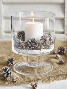 Candle and Pine Cones in Bowl for a winter Table, Christmas Table or just a rustic themed home. Candle and Pine Cones in Bowl for a winter Table, Christmas Table or just a rustic themed home. Noel Christmas, Rustic Christmas, Christmas 2019, Christmas Crafts, Christmas Ornaments, Christmas Candles, Christmas Ideas, Christmas Wedding, Elegant Christmas Decor