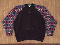 Polartec Brand Series 200 Retro 90's Fleece Pullover SZ  M Vintage Aztec Western #Polartec