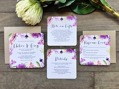 Wedding Invitations - Ink Hearts Paper Tropicana tropical hawaii fiji bali island destination wedding theme style design purple watercolour watercolor floral flower