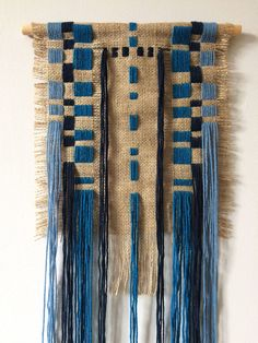 embroidered wall hanging burlap embroidery with blue yarn image 1 Art Fibres Textiles, Textile Fiber Art, Geometric Embroidery, Embroidery Art, Weaving Art, Tapestry Weaving, Burlap Wall Hangings, Yarn Images, Colorful Tapestry