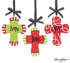 """Hand painted wooden ornaments with messages love, joy, and hope.5 1/2""""H X Approximately 4 1/2""""W.4 Assortments of 3. Total of 12."""