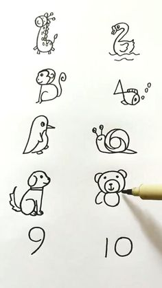 drawings ideas scary easy How to draw pictures using numbers 1 to 10 Easy Drawings For Kids, Art Drawings Sketches Simple, Pencil Art Drawings, Doodle Drawings, Drawing For Kids, Art For Kids, Drawing Ideas, Drawing Step, Simple Cute Drawings