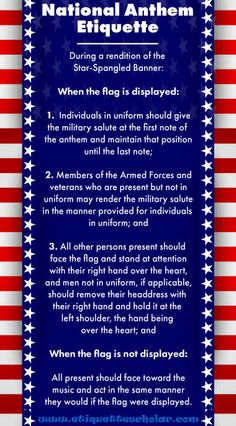 Anthem Etiquette Rules under the US Flag Code for showing respect to the flag during the national anthem. Us History, History Facts, American History, History Education, American Pride, Teaching History, Teaching Geography, American Quotes, American Symbols