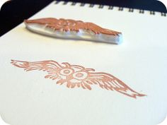 Hand Carved Flying Owl Stamp | Flickr - Photo Sharing!