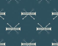 Harry Potter Fabric, Teal Hogwarts and Wands, By The Yard, Hogwarts Fabric, TheFabricEdge Harry Potter Fabric, Wands, Hogwarts, Handmade Gifts, Teal, Kid Craft Gifts, Walls, Craft Gifts, Diy Gifts