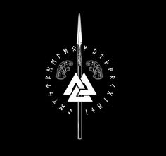 Gungnir, Odin's spear. The Valknut, the symbol for creation, preservation, and destruction. Hugin, and Munin, Odin's Ravens... Surrounded by the runes, which Odin received by sacrificing himself to himself. Great Design!