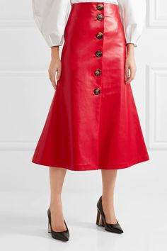 Red faux leather Button fastenings along front 100% polyester Dry clean Made in the UK