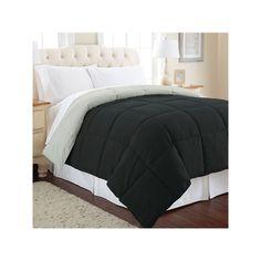Solid Down-Alternative Reversible Comforter, Black, Durable