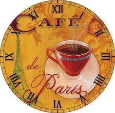 Nice Cup of tea/coffee clock face. Idea for decoupage. Tour Eiffel, Paris Eiffel Tower, Café Vintage, Vintage Coffee, Decoupage Vintage, Vintage Prints, Paris Monuments, Cafe Posters, Posters Vintage