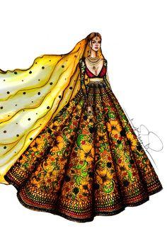 Dress Design Drawing, Dress Design Sketches, Fashion Design Sketchbook, Fashion Design Drawings, Fashion Sketches, Fashion Illustration Tutorial, Dress Illustration, Fashion Illustration Dresses, Indian Illustration