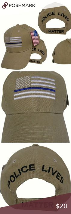 BLUE LIVES MATTER DUTY HONOR COURAGE THIN BLUE LINE EMBROIDERED BALL CAP HAT