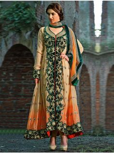 Cream Faux Georgette Anarkali Suit With Heavy Embroidery And Stone Work