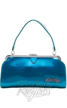 Sourpuss Bettie Page Cover Girl Purse in Blue #retroglam #sourpuss #pinup #rockabilly