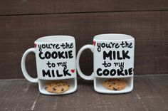 We Belong Together Like Cookies and Milk - His and Hers Ceramic Dunk Mug Set - MADE TO ORDER. $50.00, via Etsy.