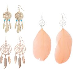 Decree Dream Catcher 3-pr. Feather Earring Set ($13) ❤ liked on Polyvore featuring jewelry, earrings, feather jewelry, decree jewelry, feather earrings, fish hook jewelry and earrings jewelry