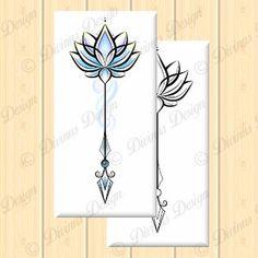 Colorful Lotus flower Arrow Tattoo Design and Stencil - Instant Digital Lotus Flower Tattoo Wrist, Simple Lotus Tattoo, Lotus Tattoo Design, Tattoo Designs, Arrow Tattoo Design, Small Wrist Tattoos, Tattoo Ideas, Tattoo Arrow, Arrow Tattoos For Women