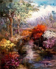 "ART & SPIRIT by Artist, NORA KASTEN: Nora Kasten Artist Oil Painting ""Burning Bush"""
