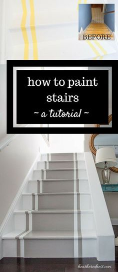 INCREDIBLE stair makeover with PAINT! SO much cheaper than stain or new stairs! If you can hold a paintbrush, you can easily learn how to paint stairs! diy How to paint stairs. A DIY tutorial. Staircase Remodel, Staircase Makeover, Basement Stairs, Garage Stairs, Patio Stairs, Redo Stairs, Entryway Stairs, House Stairs, Carpet Stairs