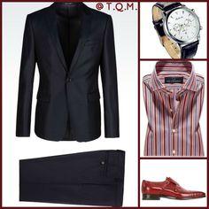 WEEKEND/NIGHTOUT STYLE(DRESSY-NO TIE): Armani(Suit)-Faleidu(Watch)-Muller MaBmanfaktu(Shirt)-Santoni(Shoes) Suit Combinations, Armani Suits, Business Formal, Game 4, Mens Gear, Grown Man, Man Style, Male Fashion, Shoe Game