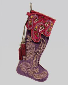 Christmas stocking diy cording for the hook handle with tassles hanging down - Jay Strongwater Paisley Christmas Stocking - Neiman Marcus