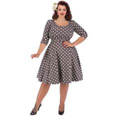 Lady V London Phoebe Mocha Polka Šaty ve stylu 50. let. pro plnoštíhlé dámy e072a16820