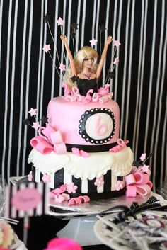 Barbie Party cake - this doll looks a little creepy; pick out a cuter Barbie doll. Haha!