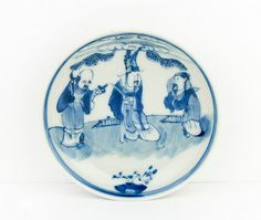 Antique - Chinese porcelain bowl - handpainted in blue and white - 19th century - Appreciation mark - Jiajing period - Made in China
