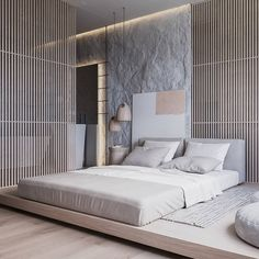 Describe this home in ONE word! 'Natural' is a 86 sq. contemporary apartment concept with a calm soft-toned interior. This apartment shows a pre-dominant Interior Design Examples, Interior Design Inspiration, Design Ideas, Room Inspiration, Design Projects, Home Bedroom, Bedroom Decor, Master Bedroom, Bedroom Furniture
