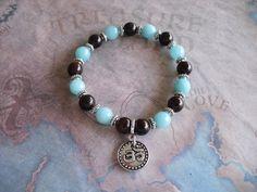 Brazilian aquamarine  &  brown wood bracelet by Shynnasplace