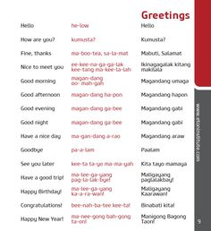 Learn how to speak the Tagalog language with Eton Institute's phrasebooks! Tip: Use the transliteration (in red) to perfect your pronunciation.