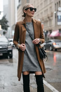 Blonde Woman Wearing Zara Camel Wool Coat Topshop Grey Sweater Dress Chloe Faye Handbag Fashion Jackson Dallas Blogger Fashion Blogger Street Style