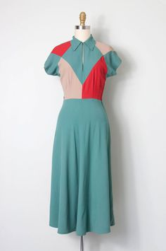 vintage 1940s dress / 40s colorblock rayon dress / door SwaneeGRACE