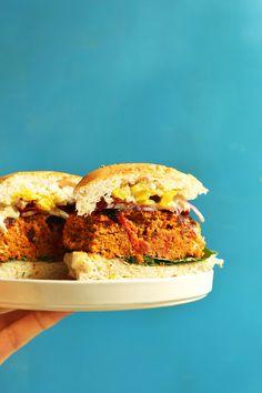 AMAZING Sun-dried Tomato Herbed CHICKPEA BURGER! Hearty, 10 ingredients, SO flavorful! #vegan #glutenfree #veggieburger #recipe #minimalistbaker