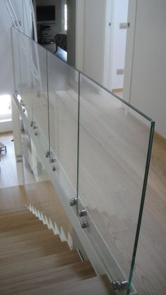 glass railing - All About Balcony Glass Handrail, Glass Railing System, Stair Handrail, Glass Balustrade, Staircase Railings, Loft Railing, Railing Design, Staircase Design, Glass Balcony Railing