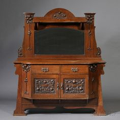 Arts & Crafts Sideboard with Mirror | England, c. 1910, James Phillip & Son Ltd. Union St. Bristol