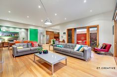 Modern colourful lounge room.  Melbourne real estate photography by CT Creative.