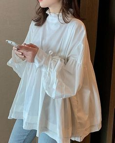 Silk organza blouse with hand painted details Organza Pakistani Fashion Casual, Pakistani Dresses Casual, Pakistani Dress Design, Modest Fashion, Hijab Fashion, Fashion Dresses, Stylish Dresses, Simple Dresses, Casual Dresses