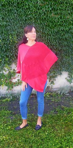 Raspberry poncho made from 3 old sweaters