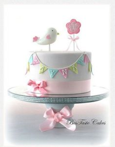 Baby cake with bird, cute banner